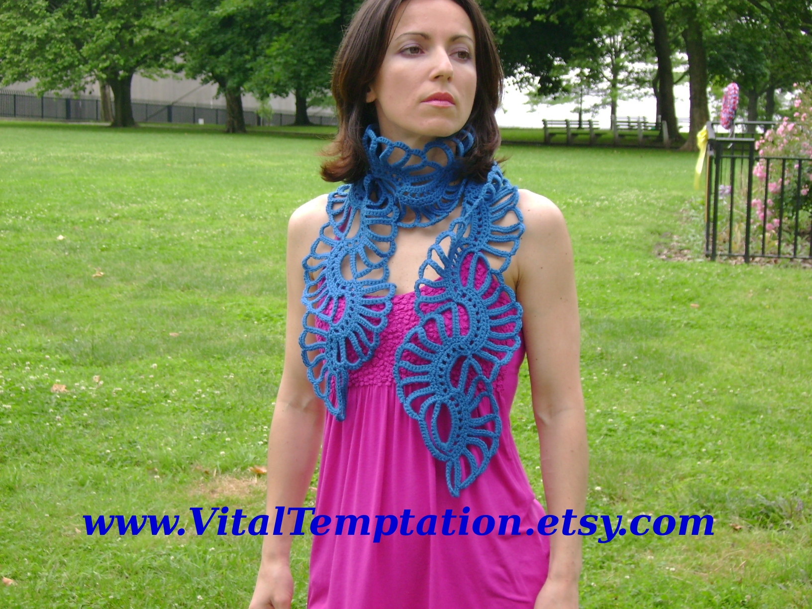 Tropical flower inspired Crochet blue lace scarf cowl scarflette neckwarmer