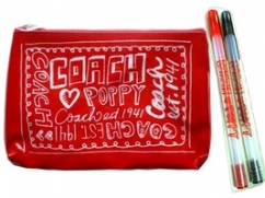 Coach Poppy make up bag with pen set