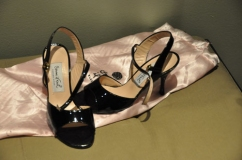 Black open toe 3 inch heel tango shoes