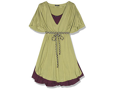 Hayden-Harnett Thea Dress, Citron/Byzantium Detail