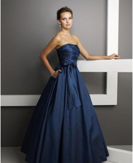 A-Line Strapless Floor Length Satin Prom Dress