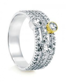 Cubic Zirconia Bubble 3-Row Fashion Right Hand Ring