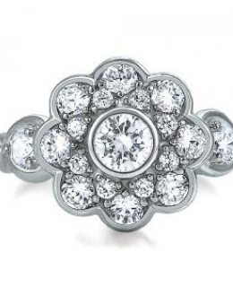 Cubic Zirconia Flower Shape Fashion Right Hand Ring