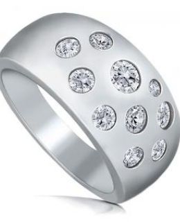 Sterling Silver Bubble Cubic Zirconia Dome Fashion Right Hand Ring