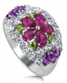 Multicolor Cubic Zirconia Flower Dome Fashion Right Hand Ring