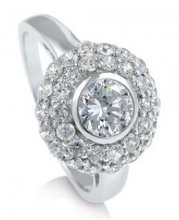 Sterling Silver Cubic Zirconia Flower Fashion Ring