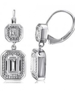 Sterling Silver CZ Dangle Leverback Earrings