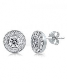 Cubic Zirconia Round Stud Earrings