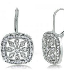 Sterling Silver Flower Shape Leverback Earrings