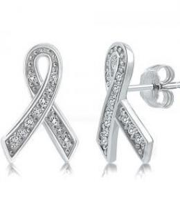 Cubic Zirconia Ribbon Stud Earrings