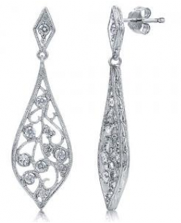 Sterling Silver Cubic Zirconia Filigree Leaf Dangle Earrings