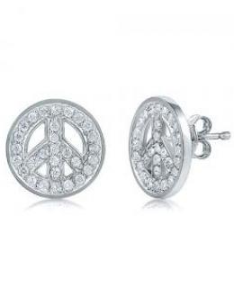 Cubic Zirconia Peace Sign Stud Earrings