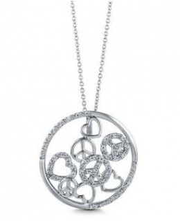 CZ Peace and Heart Pendant