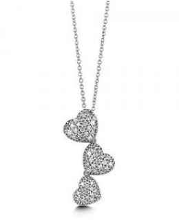 Sterling Silver Cubic Zirconia Triple Hearts Pendant