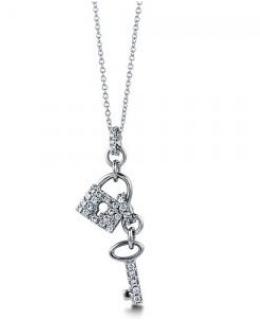 Cubic Zirconia Lock and Key Pendant