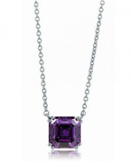 Sterling Silver Amethyst Color Asscher Cubic Zirconia Solitaire Pendant Necklace