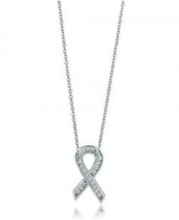Sterling Silver Cubic Zirconia  Ribbon Pendant