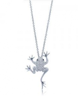 Sterling Silver Cubic Zirconia Frog Pendant