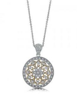 Sterling Silver & Cubic Zirconia Filigree Medallion Pendant