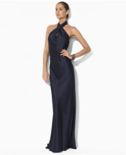 Women's Clothing: Lorella Satin Halter Dress