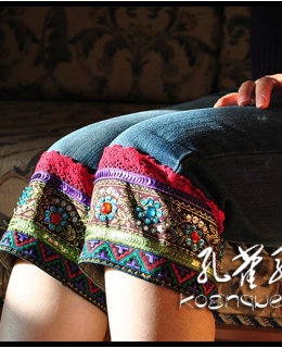 Ethnic style embroidered jeans