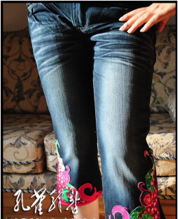 National style embroider jeans