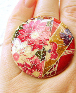 Japanese Chiyogami Ring Flowers Floral