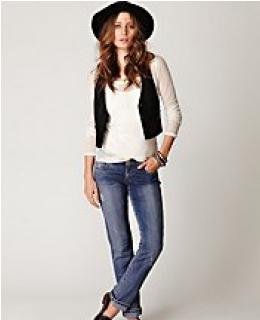 Skinny Jeans- Vintage Thrift Wash Straight Leg Denim