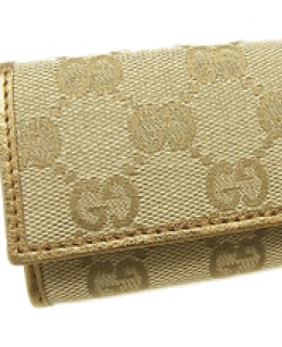 Gucci Monogram Key Case Gold Leather | Queen Bee of Beverly Hills