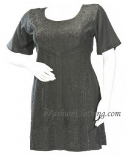 Paisley Medieval Gothic Mini Fina Dress-Size Small Black