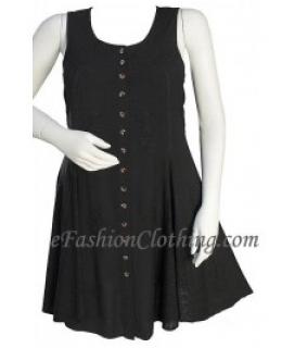 Empire Waist Marian Gypsy Mini Sun Dress-Size Small Black