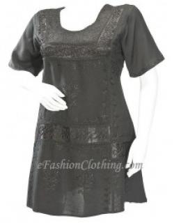 Retro Gypsy Embroidered Ally Vtg Mini Dress-Size Small Black