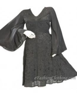 Angel Sleeve Elena Empire Waist Mini Dress-Size Small Black
