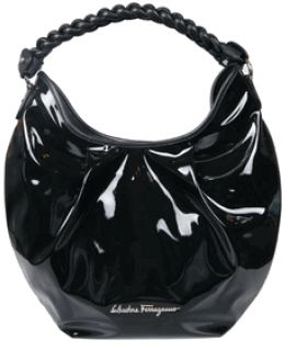Ferragamo Black Patent Braided Hobo 21