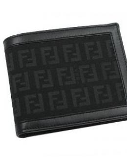 Fendi Black Zucchino Bi Fold Wallet