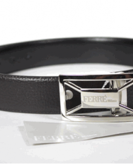 Ferre Milano Pebbled Leather Belt Reversible