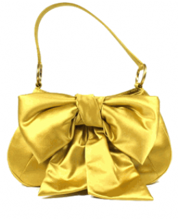 YSL Satin Bow Gold Evening Bag