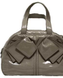 YSL Obi Bow Handbag Grey Patent Leather