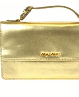 Miu Miu Cavallino Clutch Gold