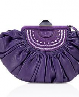 Christian Dior Purple Leather Plisse Clutch