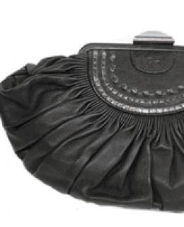 Christian Dior Black Leather Plisse Clutch