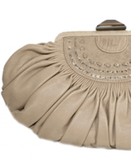 Christian Dior Tan Leather Plisse Clutch