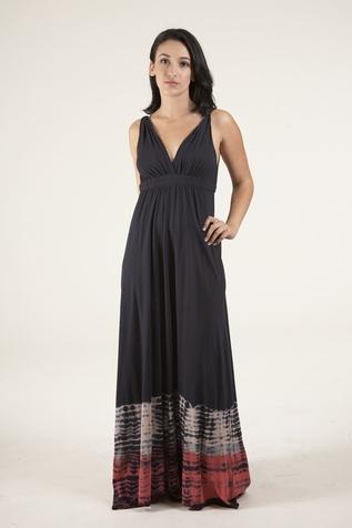 Gypsy 05 Long Organic Alligator Maxi Dress in Black