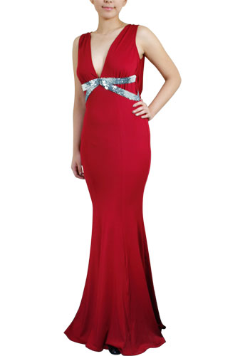 Red Sexy Bead Fishtail Evening Dress