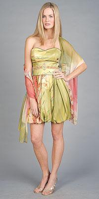 Strapless Print Bubble Prom Dresses